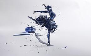 Arte, ragazza, ballerino, inchiostro, bolla, penna