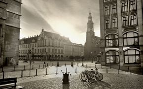 фото, фото, чёрно-белый, город, площадь, велосипеды, перекрёсток, здания, архитектура
