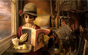 cartone animato, La signora Toutle-Putli, ragazza, rivista, finestra, cappello, borsa, marrone, Efecta