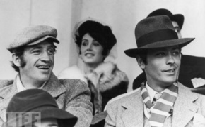 Delon, Belmondo, boys, Hats