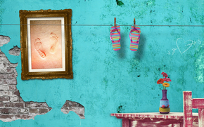 summer, wall, shales, traces of, sand, flowers, frame, picture