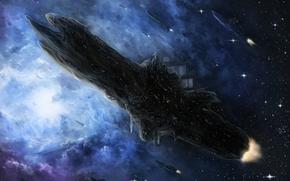 Art, space, Ships, Star, nebula