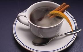 cup, coffee, cinnamon, orange