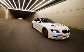 BMW, bianco, velocit, tunnel, BMW