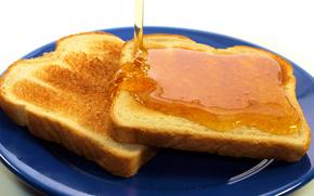 тосты, хлеб, мед, тарелка, завтрак