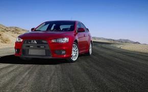 Mitsubishi, Lanciere, Evolyushin X, auto, strada, rosso, Giappone, asfalto, Mitsubishi