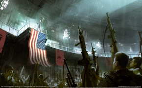 Soldiers, flag, Americans