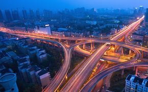 night city, blue mist, traffic, lights, ночь, мегаполис, огни, движение, эстакада, трафик, дорога
