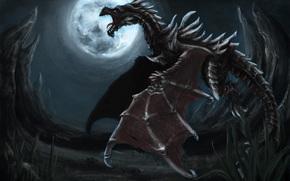 dragon, nuit, lune, vol, Rocks, mchoires