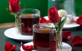 Торт, чашки, напитки, элегантно, нежно, гармония, любовь, лепестки, романтика, розы, роза, чай, Валентинка, праздники, День Святого Валентина, настроения