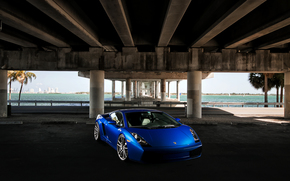 Lamborghini, Lamborghini, Gallardo, blue, front end, sky, bridge, concrete base, Palms, Lamborghini