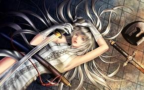 芸術, 女の子, 剣, カタナ, ヘルメット, 床に, 手袋, コード, 髪