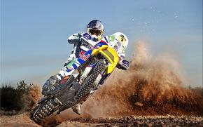 Dakar, motociclista, motocicletta, Enduro, slittare, polvere, cielo, motocicli
