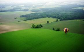 воздушный шар, цветной, красный, синий, желтый, луг, поле, деревья, природа, красиво