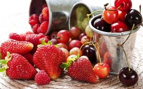 клубника, черешня, крыжовник, малина, ягоды