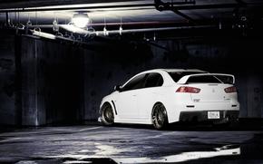 Mitsubishi, Lancer, Evolution, white, back, Tuning, lamp, Pipe, Mitsubishi