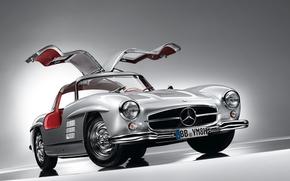 мерседес, спорткар, передок, двери, крыло чайки, серебристый, классика, красивая машина, Mercedes