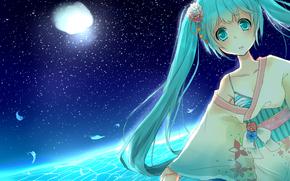 anime, Vocaloid, Hatsune Miku, ragazza, notte, Stella, chimono
