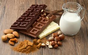 сладкое, шоколад, молоко, орехи, фундук, миндаль
