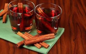 cup, tea, cinnamon
