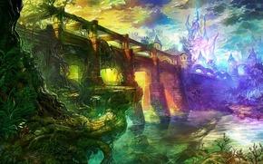 城市, 幻想世界, 桥, 河, 拱, 塔