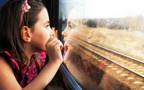 adna dziewczyna, okna pocigu, smutek, adny, dziecko, dzieci, samotny, odbicie
