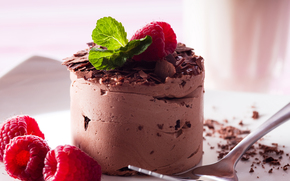 cake, sweet, raspberry, mint