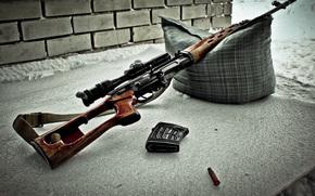 SVD, cecchino, fucile, Dragunov, arma, ottica, gabbia, cuscino, cintura, manicotto