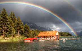 forest, river, Mountains, rainbow, wharf, lodge