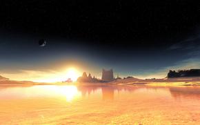 obca planeta, fantastyczny krajobraz, niebo, Gwiazda