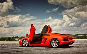 Lamborghini, Aventador, LP700-4, Lamborghini, Lamborghini, Aventador, porte, su, cielo, nuvole, auto, macchinario, Auto