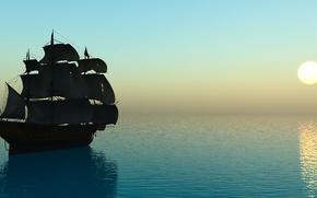 Brig, sea, sun