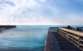 pier, pier, horizon, Sea, water
