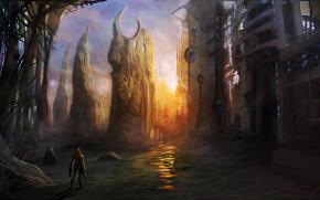 Art, fantasy, future, facilities, man