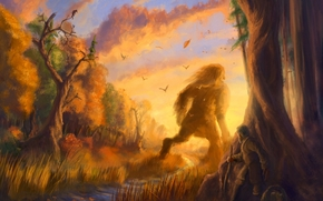 Arte, Fantasia, foresta, tramonto, autunno, gigante, storia