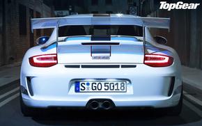 Top Gear, Top Gear, la mejor demostracin de la TV y la revista, Porsche, Supercar, Color blanco, Vista posterior de la, Spoiler, ala, luces, Porsche