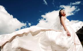 Девушка, азиатка, белый, платье, невеста, небо.