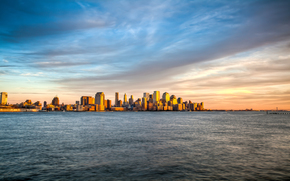 New York, Manhattan, insul, mare, valuri, ap, peisaj, vedere, revizuiasc, cer, sear, apus de soare, nori