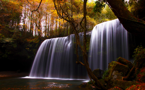 природа, водопад, река, осень, деревья