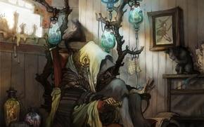 Arte, bruja, anciana, habitacin, silla, gato, Velas, Bancos