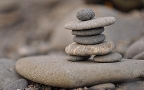 камни, камушки, пирамида, плоские, макро