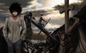 Death Note, Death Note, Ryuzaki, Luz, Yagami, L, Ciro, destruccin, cruzar, cielo