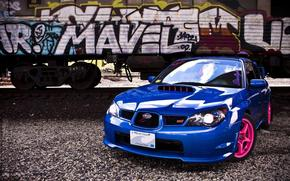 blue, CDs, pink, car, graffiti, iron, road, Tuning, subaru