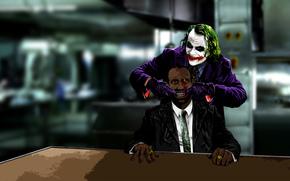 Joker, Bethmann, lcheln, Karten, Inschriften, Batman, Kunst, Stil, sehen, Clown, Comics, Film, dunkel, Ritter, Blut, Neger, Niger, schwarz, schwarz, Afrikaner, Negrito, Affe, Maure, Nigger, Rassismus, Anzug, Unterhaltung