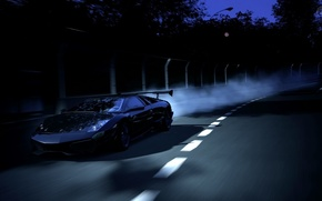 night, track, rate, Lamborghini