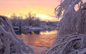 inverno, rio, neve, pr do sol