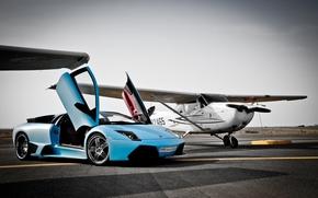Lamborghini, marselago, plane, runway, Lamborghini