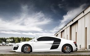 ауди, суперкар, белый, вид сбоку, ангар, самолёты, небо, облака, Audi