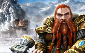 Fantasy, city, fortress, fire, Mountains, snow, gnome, hammer, runes, weapon, armor