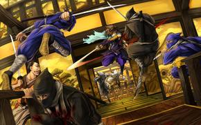 battaglia, katana, sangue, tipo, ninja, movimento
